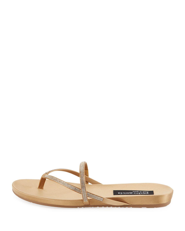 e76650134f00 Pedro Garcia Giulia Crystal Strappy Flat Thong Slide Sandal ...