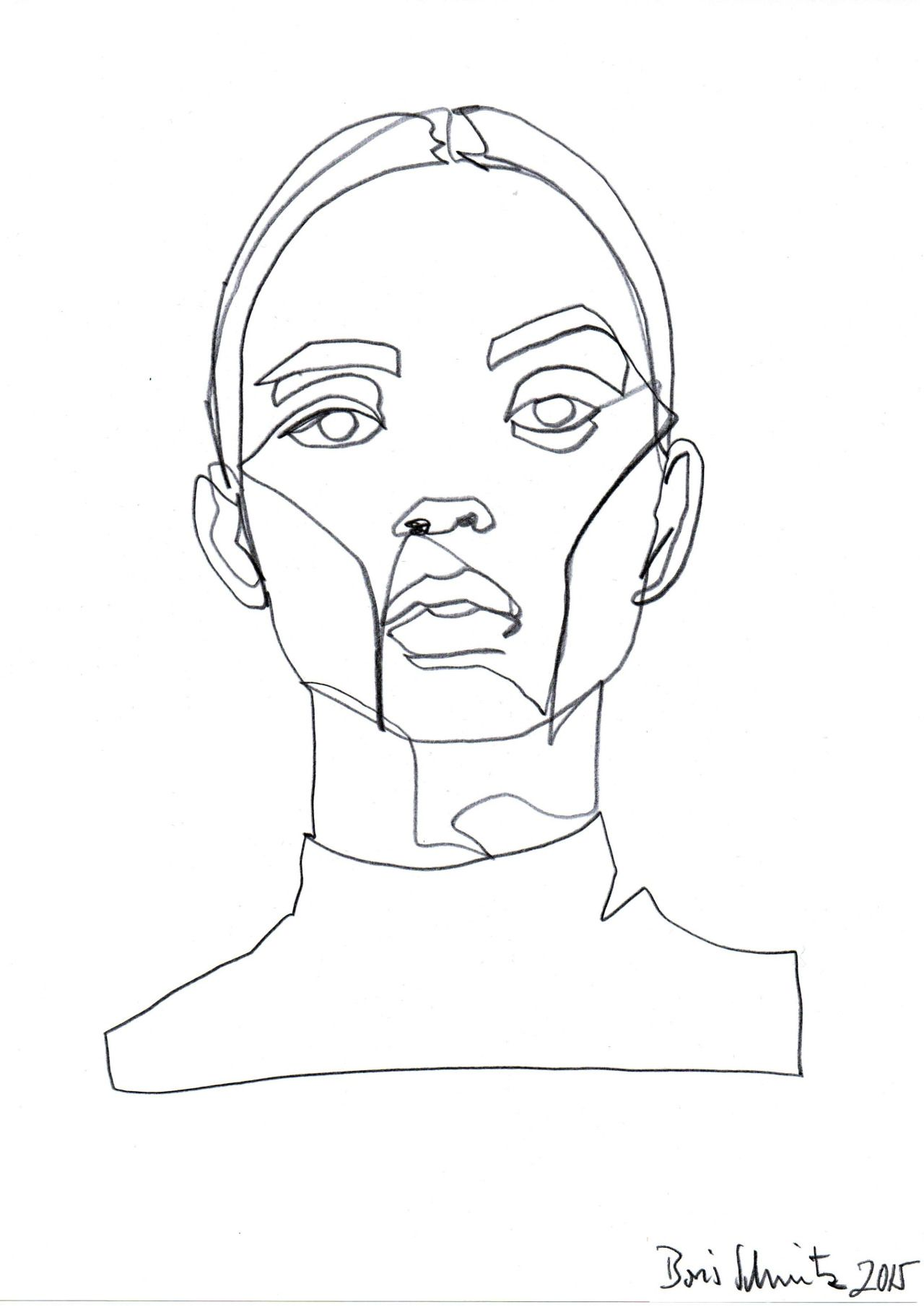 "Blind Contour Line Drawing Face : Borisschmitz "" ""gaze ″ continuous line drawing by"