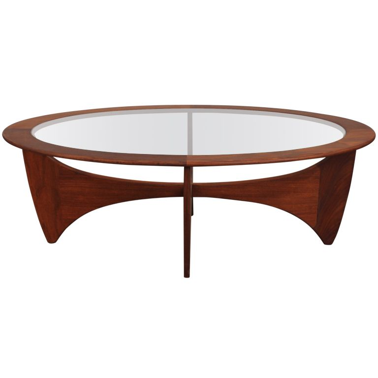 Mid century modern oval coffee table by vb wilkins for g for Mid century modern coffee table