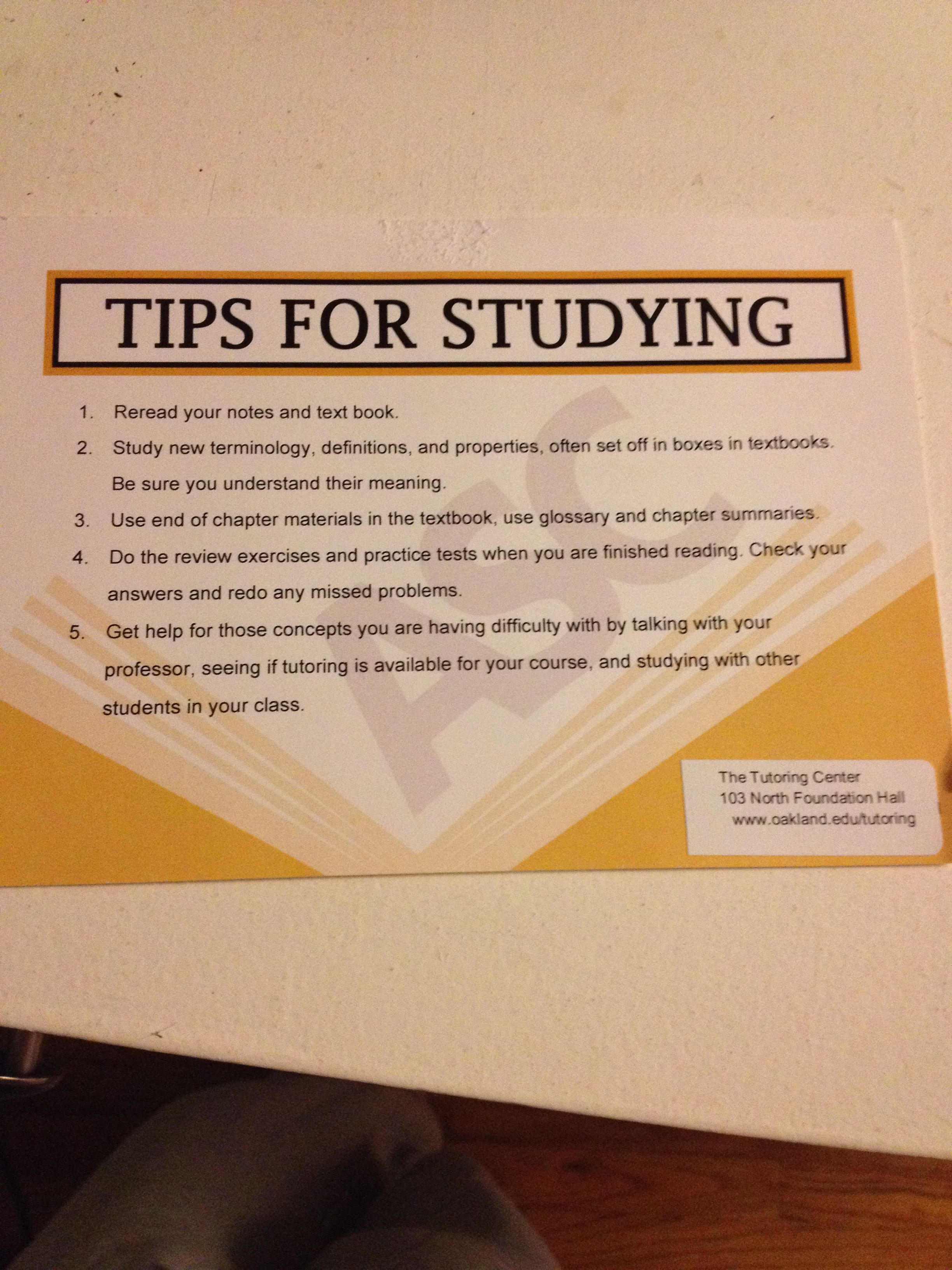 Tips For Studying From Oakland University Schoolstudy Tips