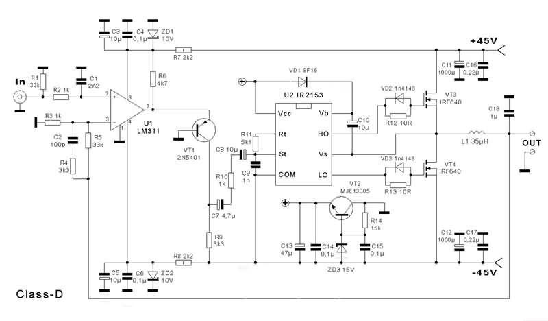class-d-schematic-ir2153-d-class-circuit | class d amplifier