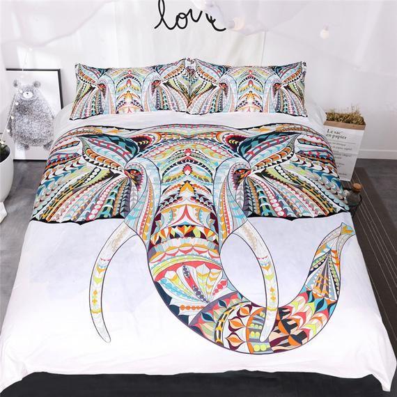 White Elephant 3D Quilt Duvet Doona Cover Set Single Double Queen King Print