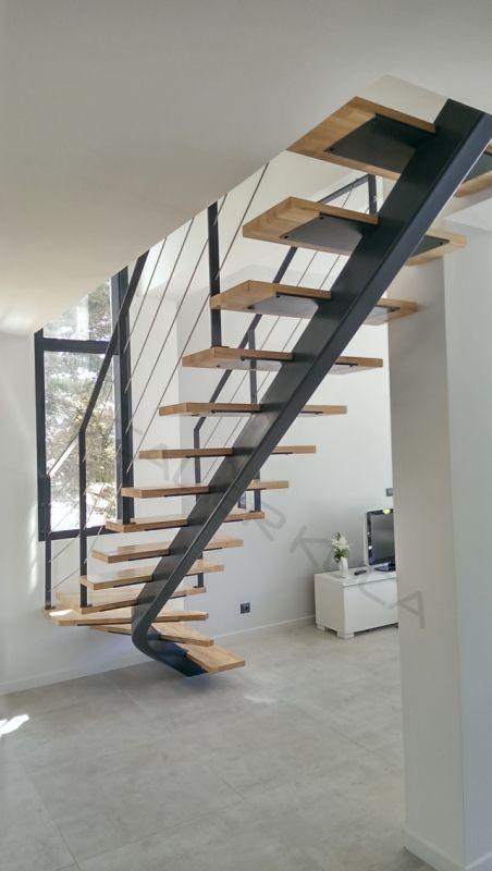 Escalier Droit Tout Acier Sur Limon Central Art Metal Concept