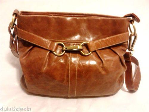 Peck Collection Leather Shoulder Bag Brown Purse