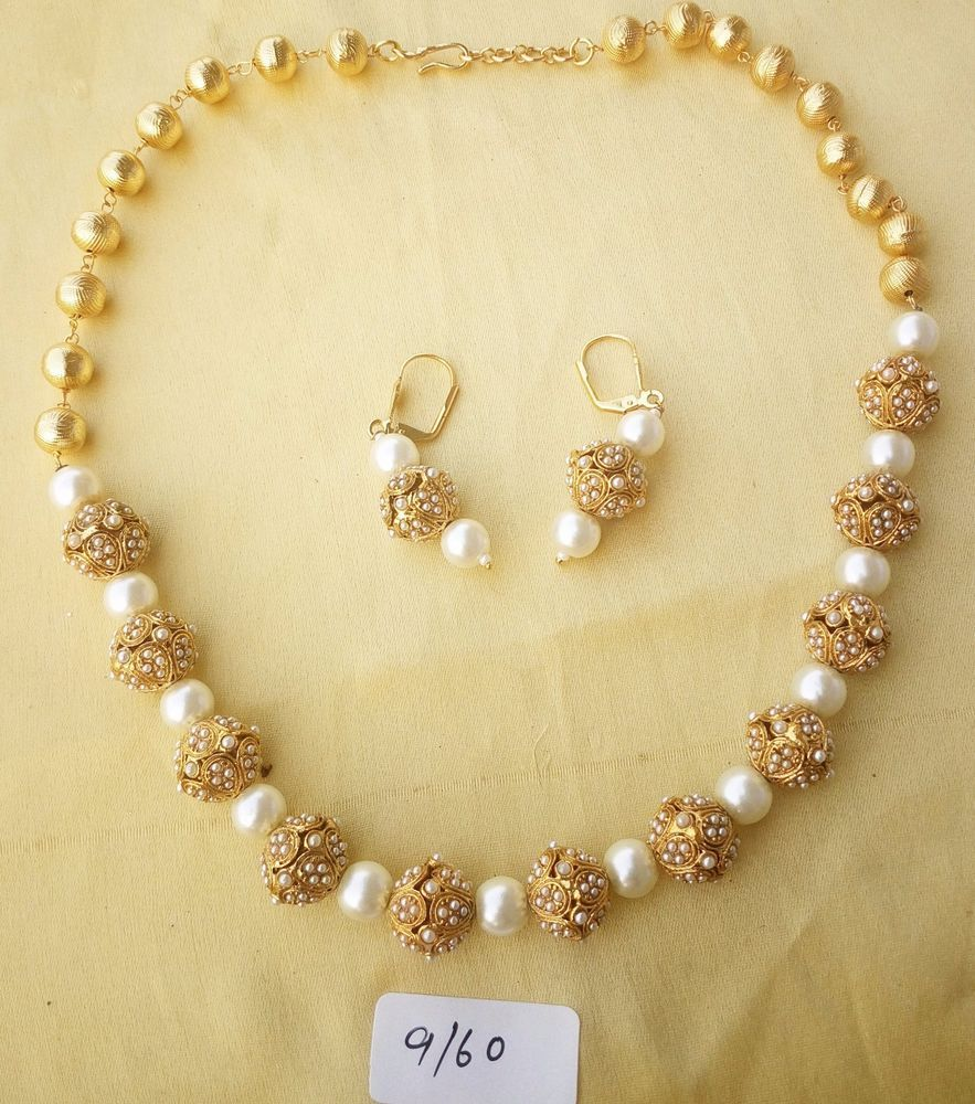 White gold necklace pearl vintage faux bead tone beaded strand bead