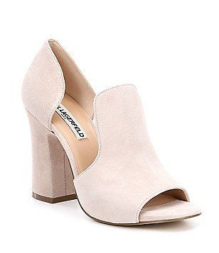 47311ff817 KARL LAGERFELD PARIS Rian Suede Cut Out Slip On Block Heel Dress Sandals
