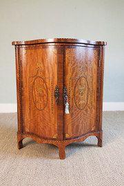 Marquetry Mahogany Serpentine Corner Cupboard