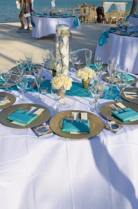Beachy Wedding Shower Family Event Tablescape Ideas Turquoise