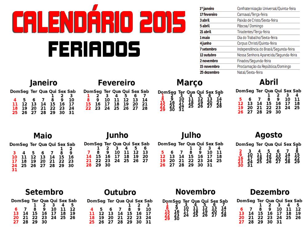 calendario 2015 feriados folgas