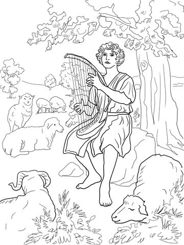 David The Shepherd Coloring Page Coloring Pages Printable Coloring Pages Bible Coloring Pages