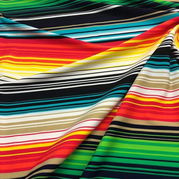 Nylon Lycra linear stripes Print fabric four Way strech spandex by yd