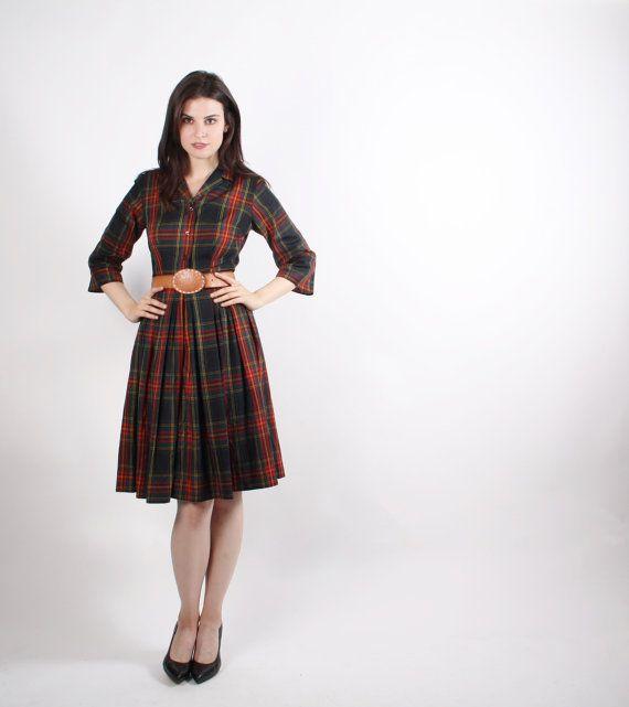 50s Plaid Cotton Dress   Vintage 1950s Cotton Dresses by aiseirigh