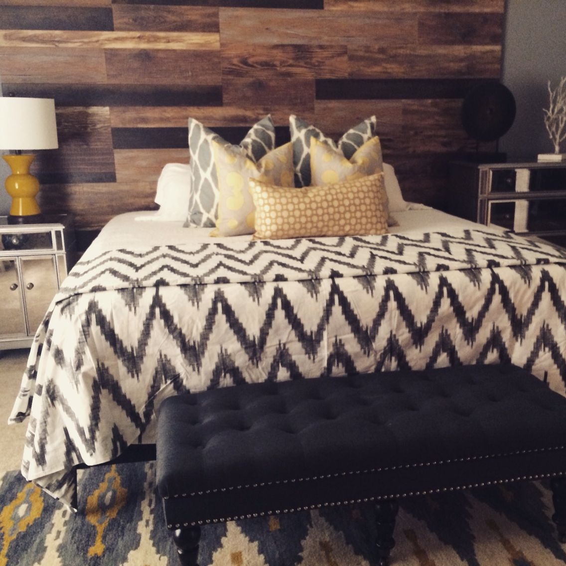 Headboard Made Out Of Laminate Flooring. Pattern Combo