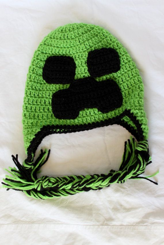 b96ec7ec1fe Crochet Minecraft Earflap Hat Size Child by KrazyKrochetin