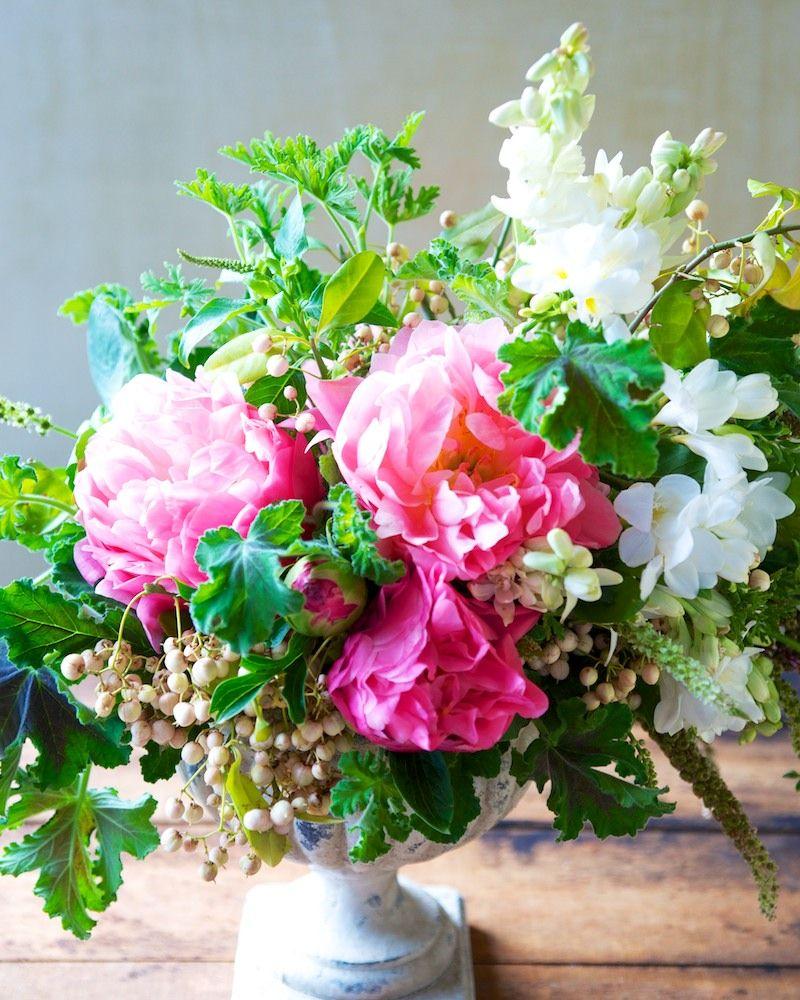 peony, pokeweed, freesia, geranium and tuberoses