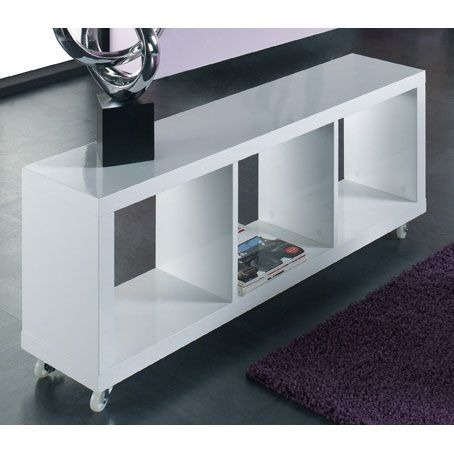 cube lowboard tv unit in gloss white with wheels white gloss living room furniture bookcase. Black Bedroom Furniture Sets. Home Design Ideas