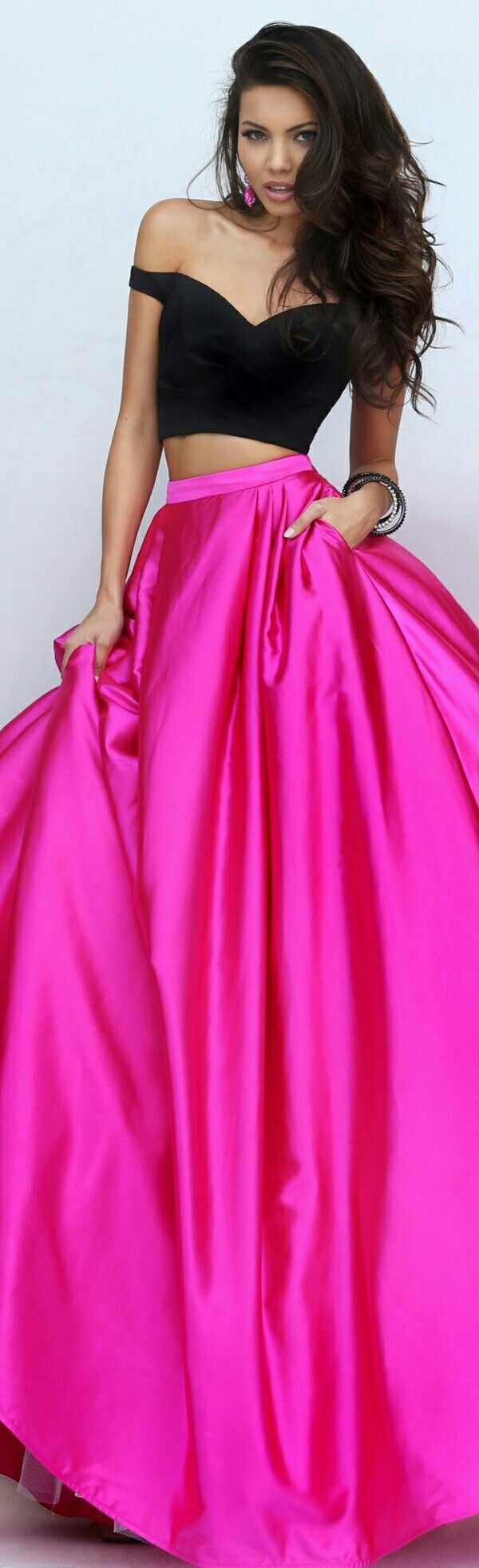 SHERRI HILL • In Hot Pink Shimmering Satin Flowing Skirt & Black Off ...