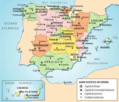 Madrid Capital De España Mapa.Herramientas Para Geografia Mapa De Capitales De Provincias
