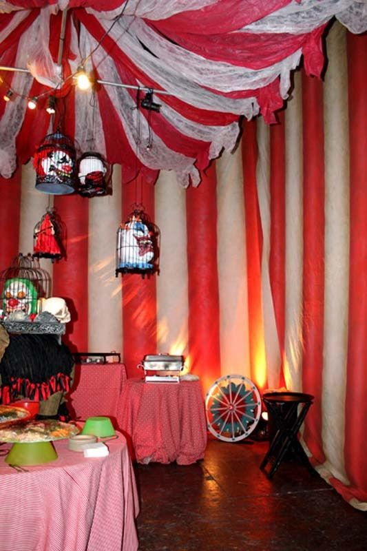 Creepy carnival decor Community could create mini circus environment inside the bird cages or inside tyres. Bird cage is good as a lot of the circus is based around animals
