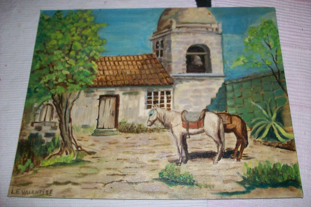 Over the stairs! RARE ORIGINAL ART Oil PAINTING Signed L.E.VALENTINE Horse&OLD California MISSION #Realism
