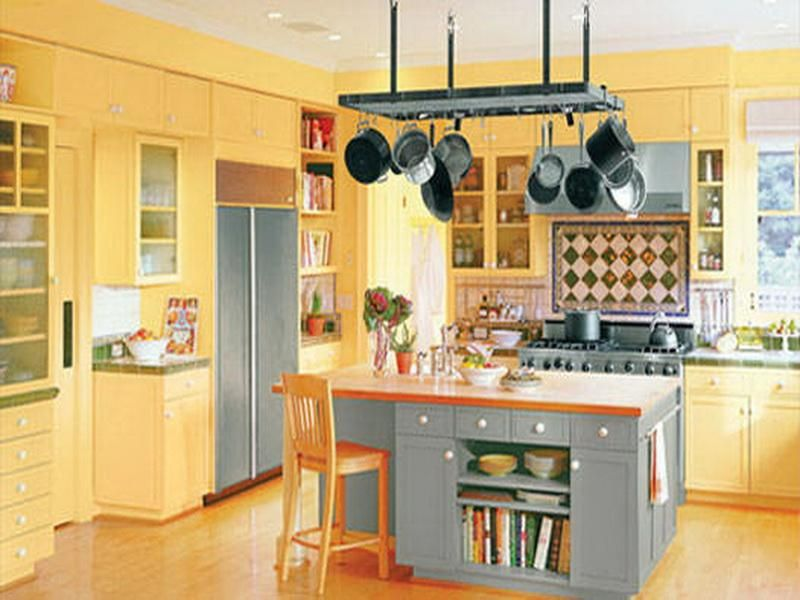 High Quality Most Popular Kitchen Color Schemes With Wood Cabinets In Yellow