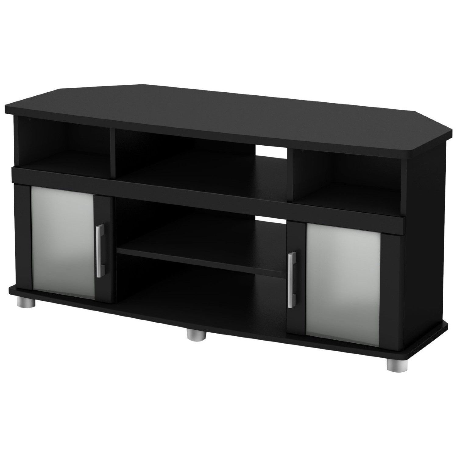 Black Corner Tv Stand With Frosted Glass Doors Tv Stands