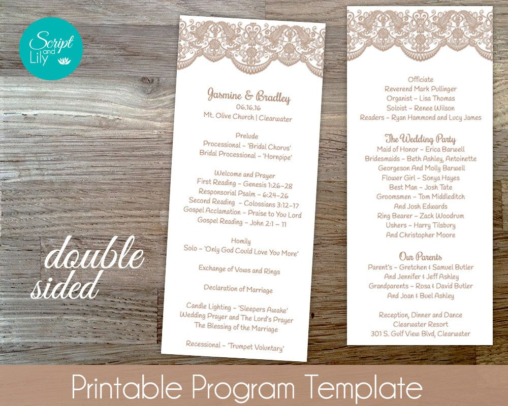Lace Wedding Program Template DoubleSided FREE Color Change - Pages wedding program template