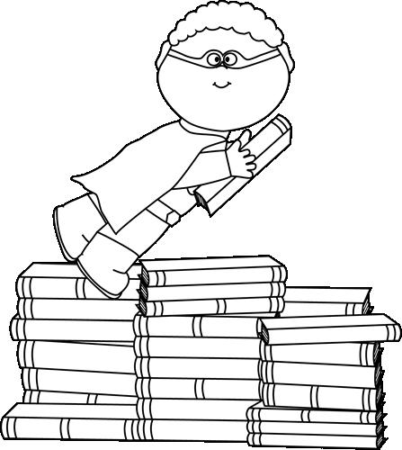 Black and White Boy Superhero Flying Around Books