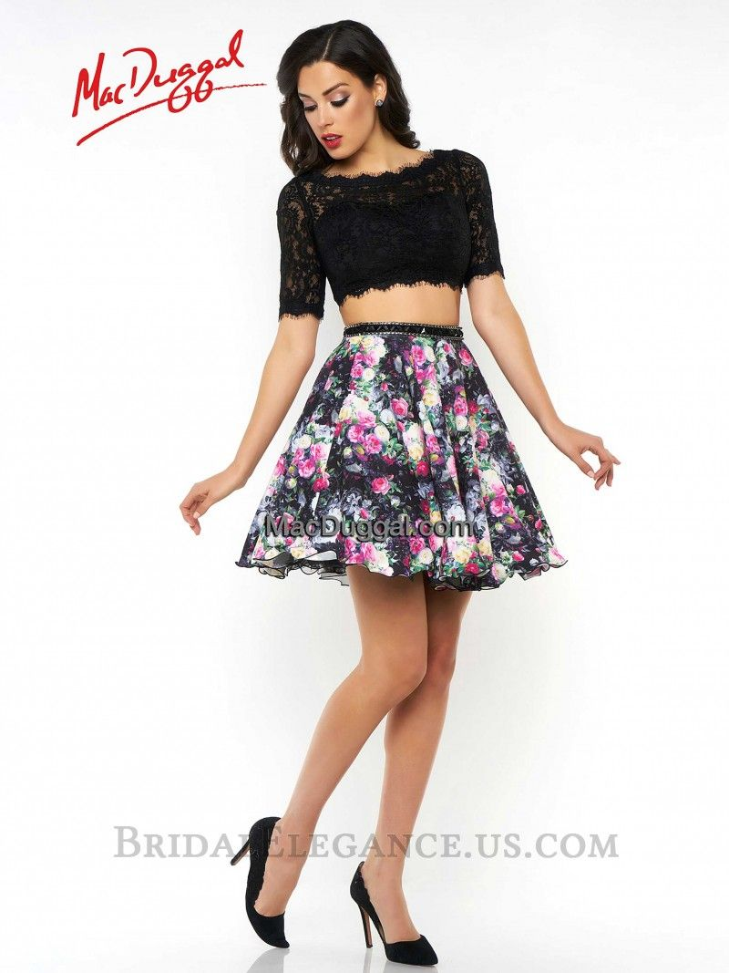 Mac Duggal 40566 | Black Lace & Floral Two Piece Homecoming Dress | Bridal Elegance
