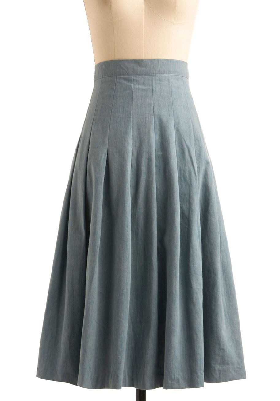 e6d67863c169ff this goes with pretty much everything in my closet Chambray Skirt, Gray  Skirt, A