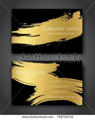 Business Card Gold Black Brush Design Modern Vector Abstract Golden Background Template Invitation Design Black Gold Cards Business Card Template