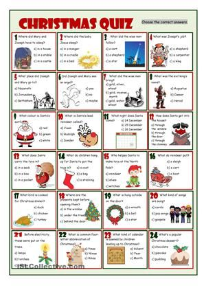 Multiple quiz on Christmas story, Santa and Christmas traditions - free printable quiz