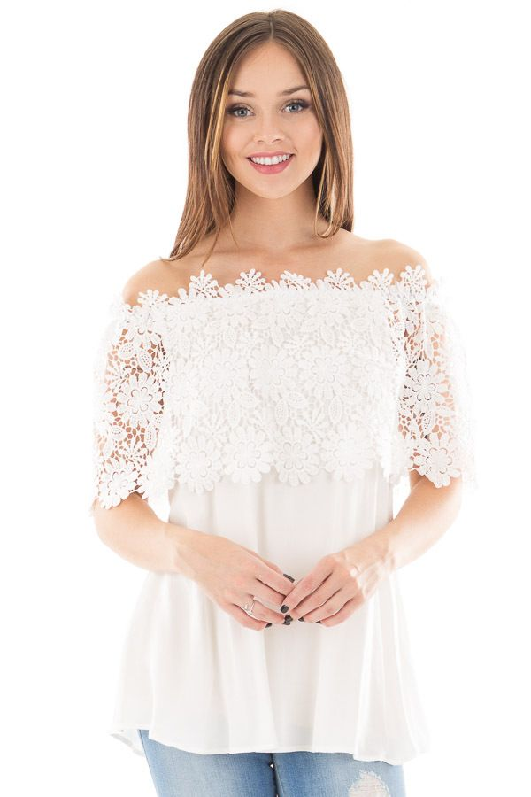 9a1c3694810 Lime Lush Boutique - White Off Shoulder Top with Floral Crochet Overlay,  $39.99 (https