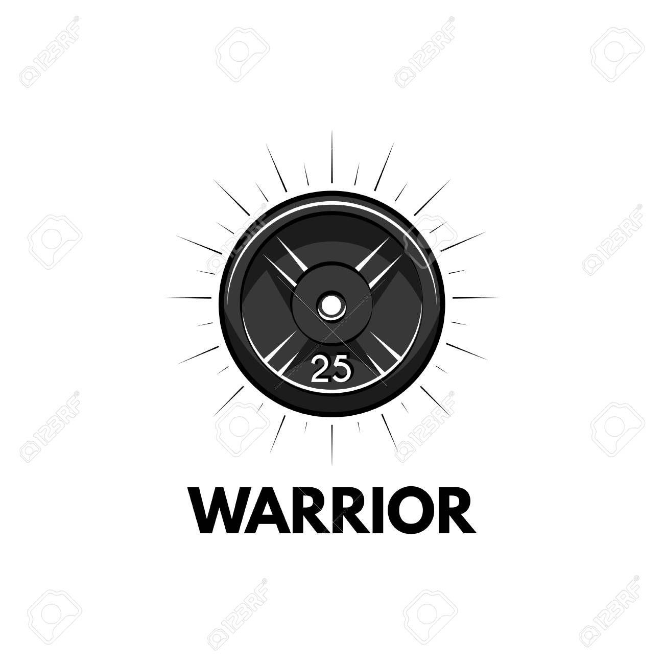 Disk weight, barbell disk. Fitness badge. Warrior inscriptions. Sport icon Vector illustration. Illu...