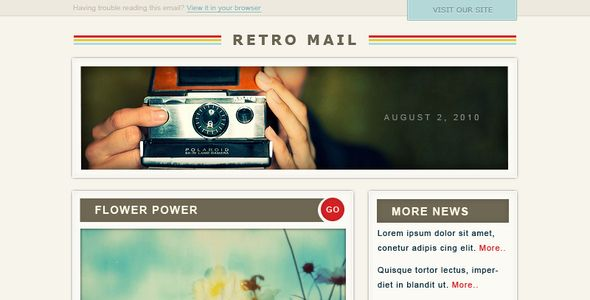 Retro Mail  Retro mail is an awesome looking email newsletter - email newsletter template