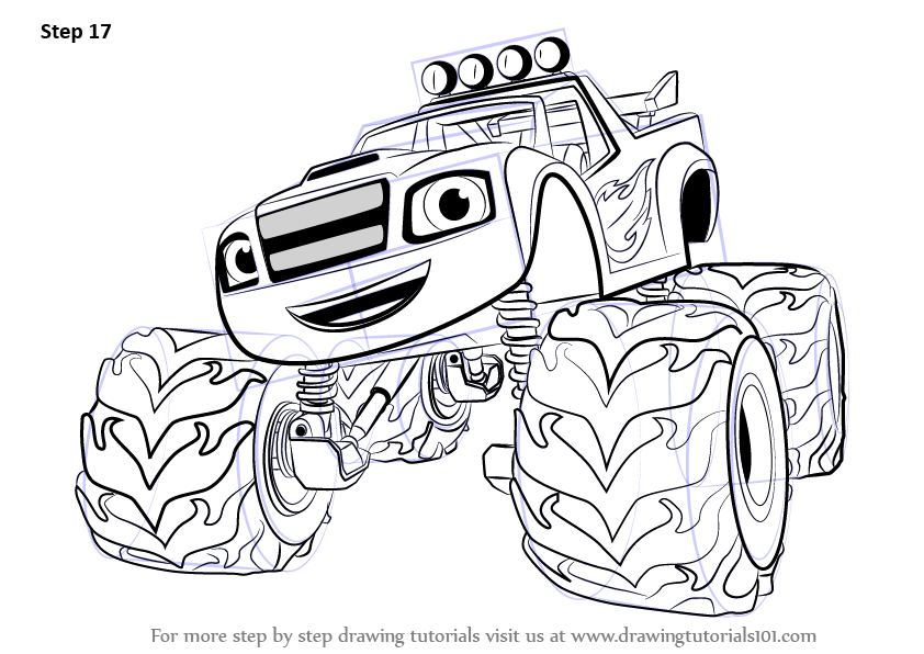 Learn How To Draw Blaze From Blaze And The Monster Machines Blaze And The Monster M Monster Truck Coloring Pages Blaze The Monster Machine Paw Patrol Coloring