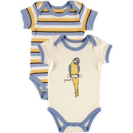 Touched By Nature Newborn Baby Boys Bodysuit 2 Pack Organic Parrot