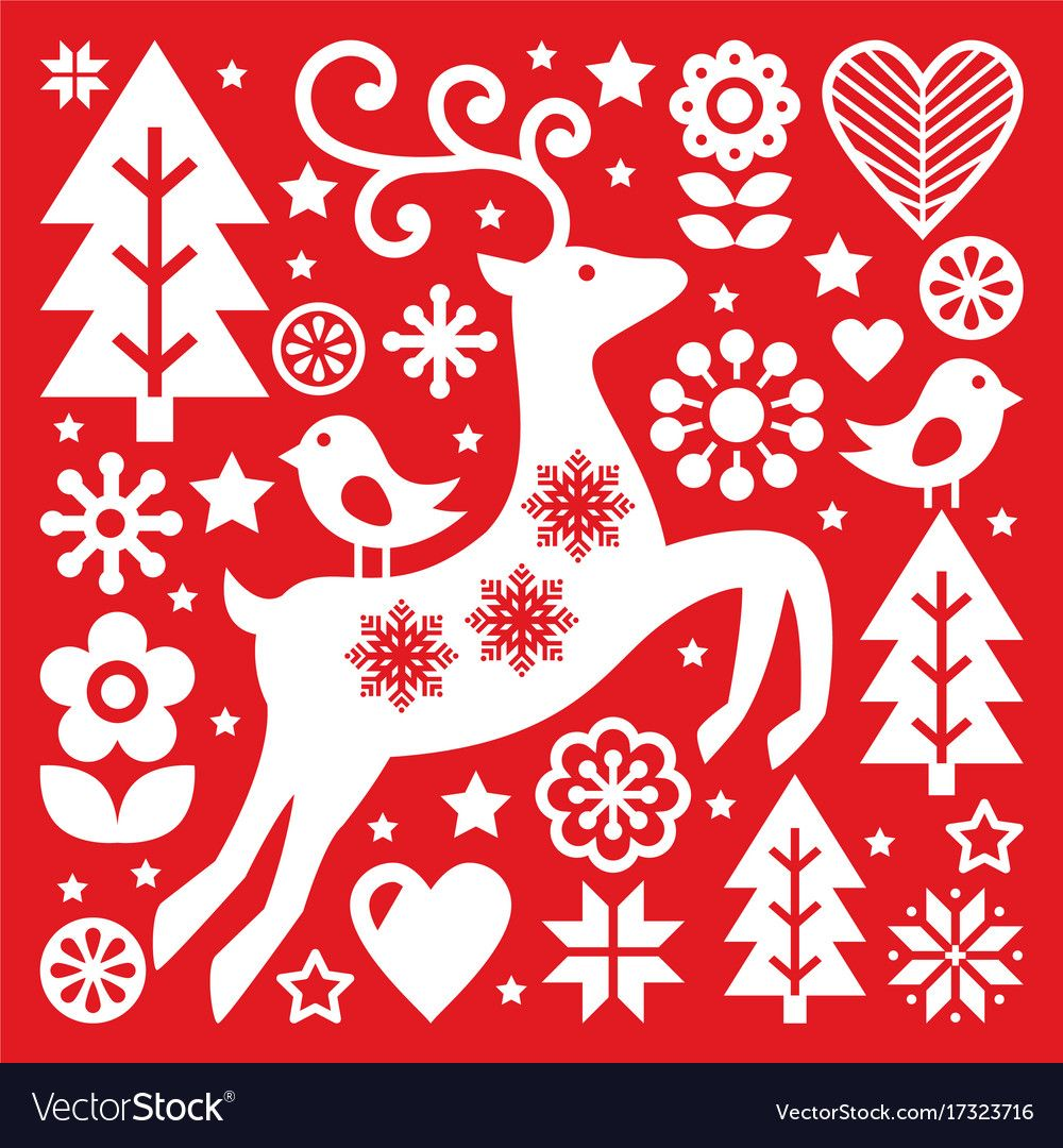 Christmas White Scandinavian Folk Art On Red Rein Vector Image On Vectorstock Scandinavian Folk Art Folk Embroidery Christmas Embroidery Patterns