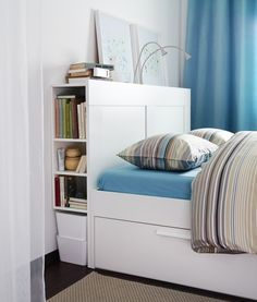 BRIMNES Headboard with storage compartment white Storage