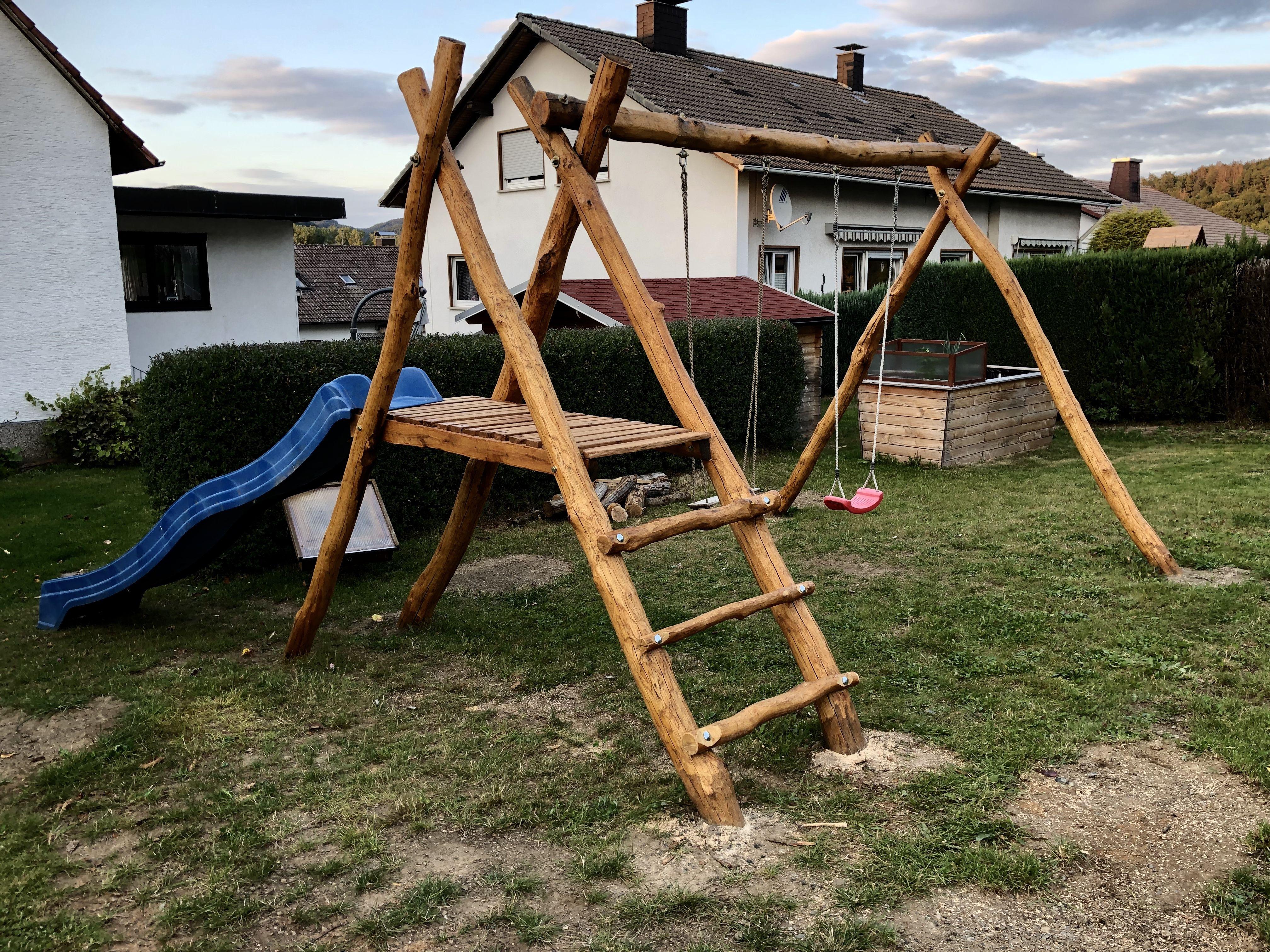 Schaukel Eiche Rundholz Selbst Gebaut Garten Selber Bauen Schaukel