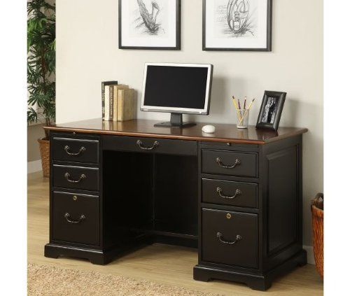 54 Quot Flat Top Desk By Riverside Burnished Cherry Antique Black 7154 By Riverside 913 50