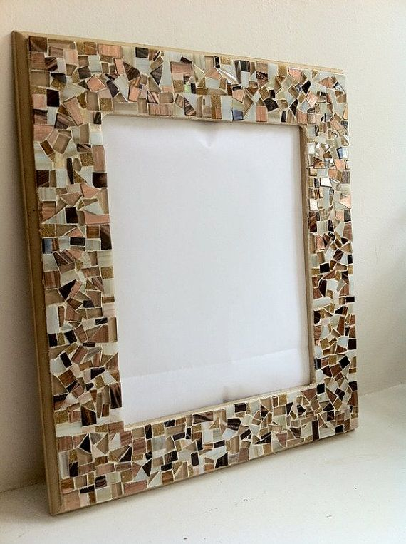 Mirror Mosaic Wall Art mosaic wall mirror, wall art, neutral brown and gold | mirror