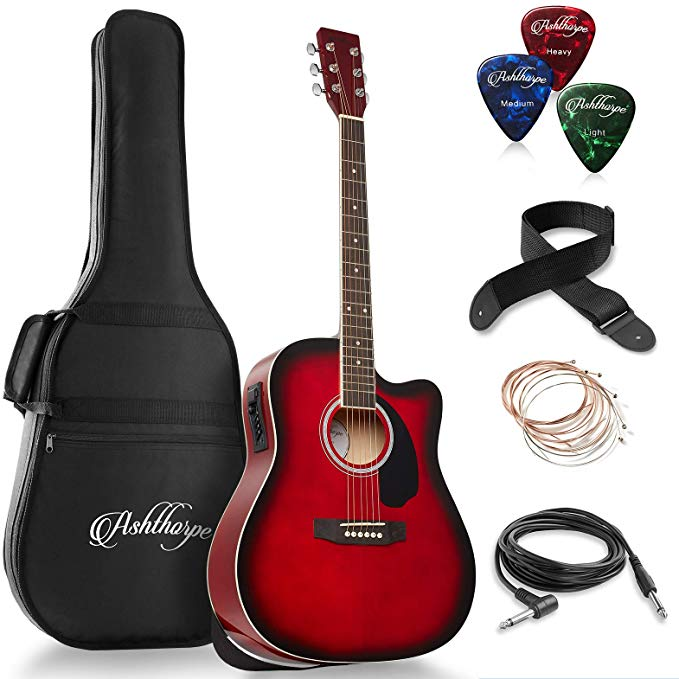 Ashthorpe Full Size Dreadnought Cutaway Acoustic Electric Guitar Bundle Premium Tonewoods Red Mu Ovation Guitar Acoustic Electric Guitar Acoustic Electric