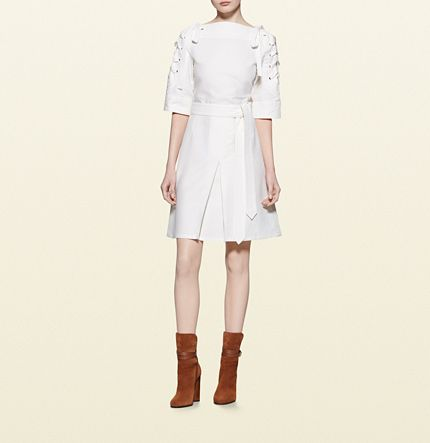 Gucci - cotton linen lace-up detail dress