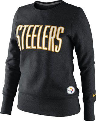 online retailer 38b92 5ee6b Pittsburgh Steelers Women's Black Nike Tailgater Fleece Crew ...