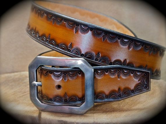 Leather Belt Custom Hand tooled Cowboy Gun Leather made for YOU in NYC Matara