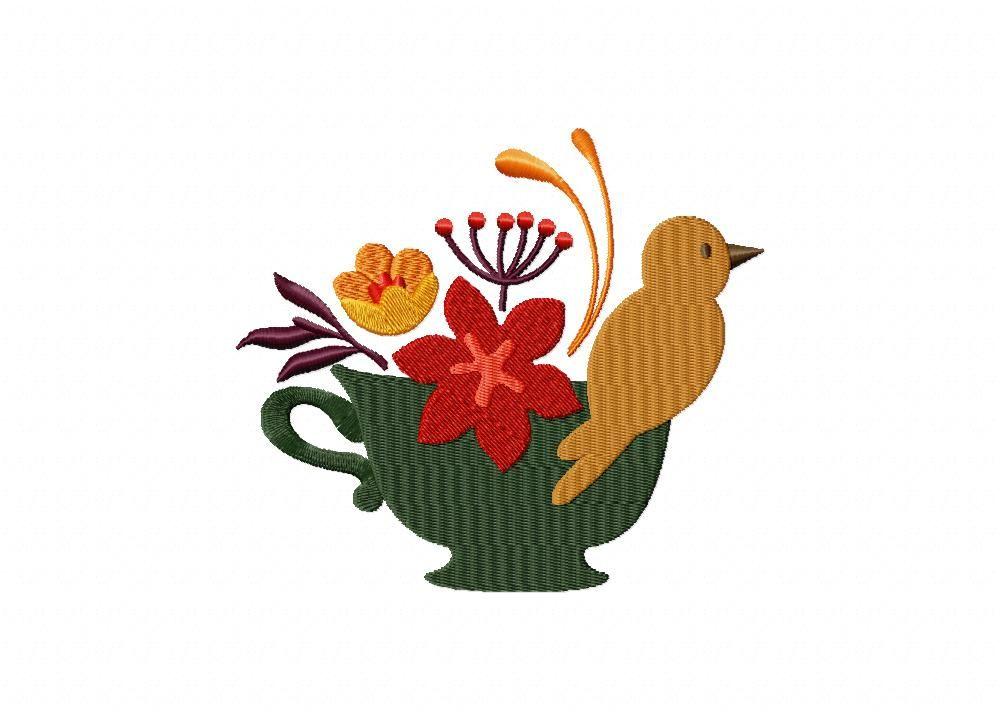 Autumn Bird In Green Teacup Machine Embroidery Design