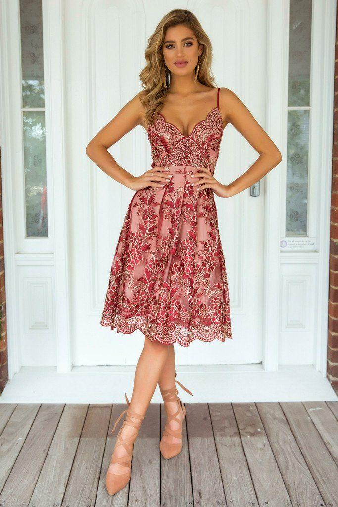 Breathtaking 2.0 Dress (Red/Nude)