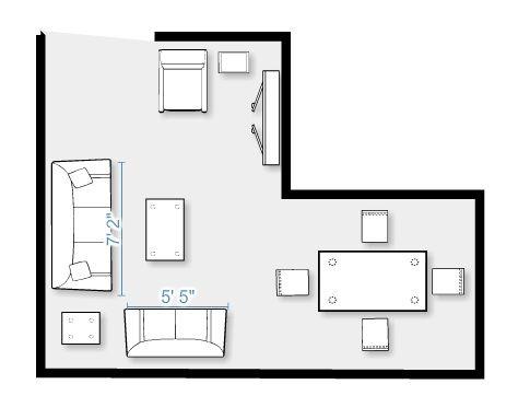 Furniture layout for my split level living room mini - L shaped living dining room design ideas ...