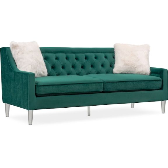 Beau Chloe Sofa   Emerald | Value City Furniture And Mattresses